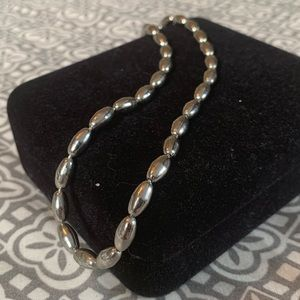 Vintage Silver Toned Beaded Choker Necklace